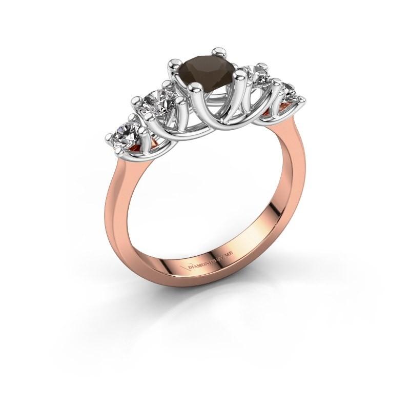 Engagement ring Jet 585 rose gold smokey quartz 5 mm