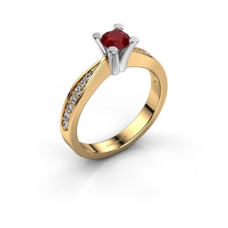 Promise ring Ichelle 2 585 goud robijn 4.7 mm