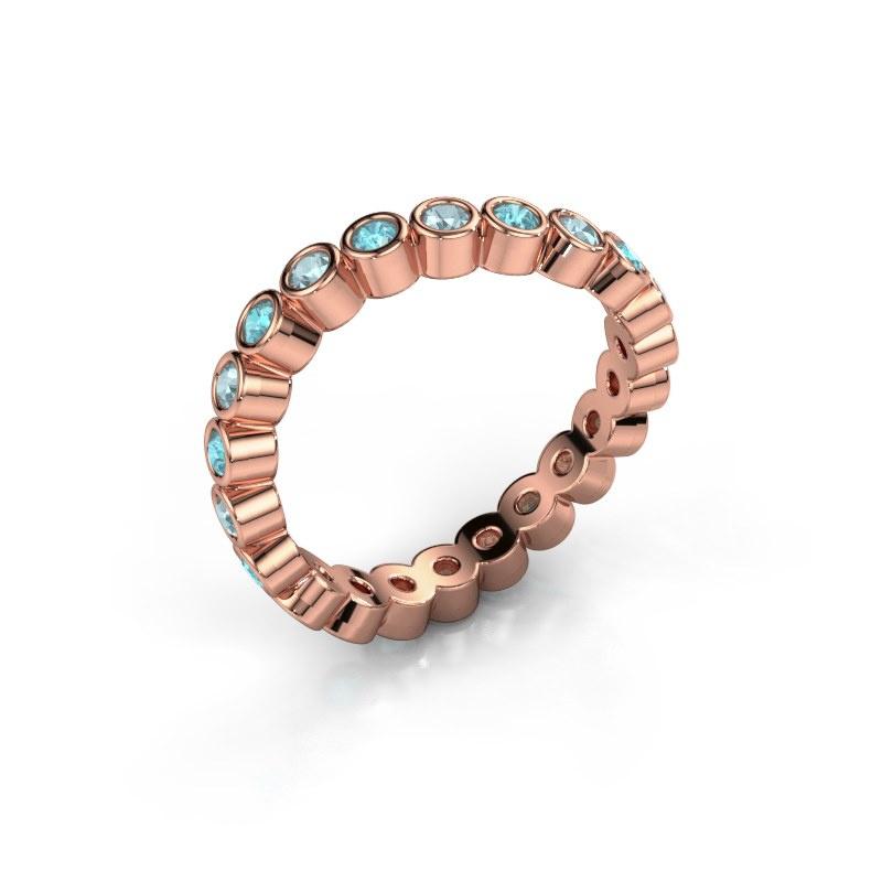 Ring Liz 585 rosé goud blauw topaas 2 mm
