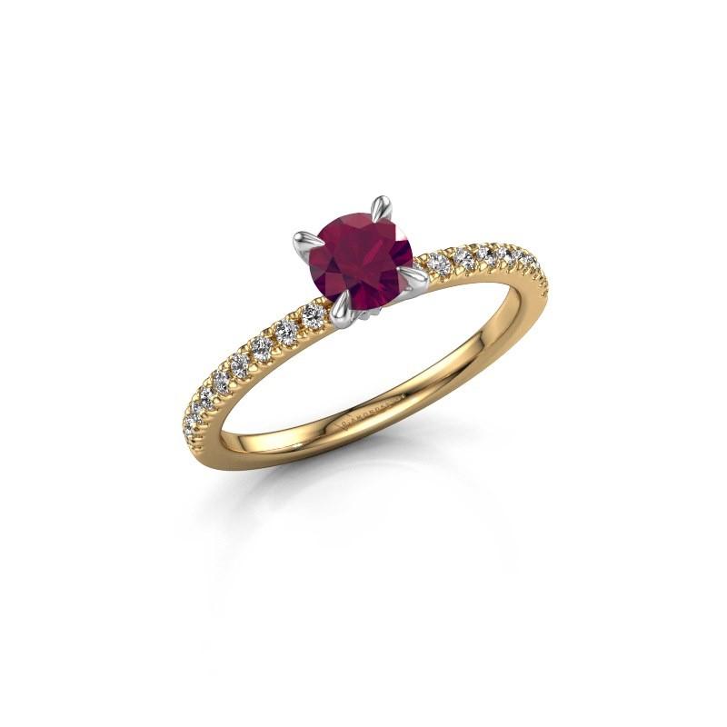 Verlovingsring Crystal rnd 2 585 goud rhodoliet 5 mm