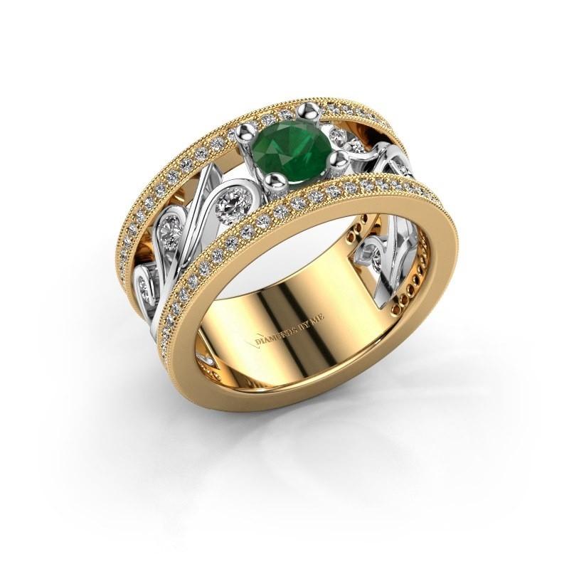 Ring Sanne 585 goud smaragd 5 mm