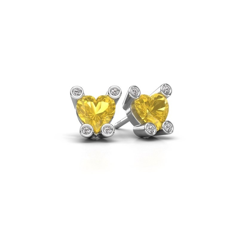Oorstekers Cornelia Heart 375 witgoud gele saffier 6 mm