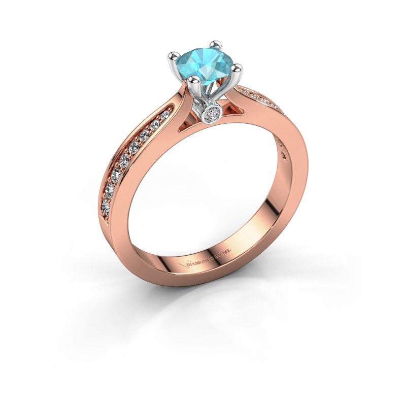 Verlovingsring Evelien 585 rosé goud blauw topaas 5 mm