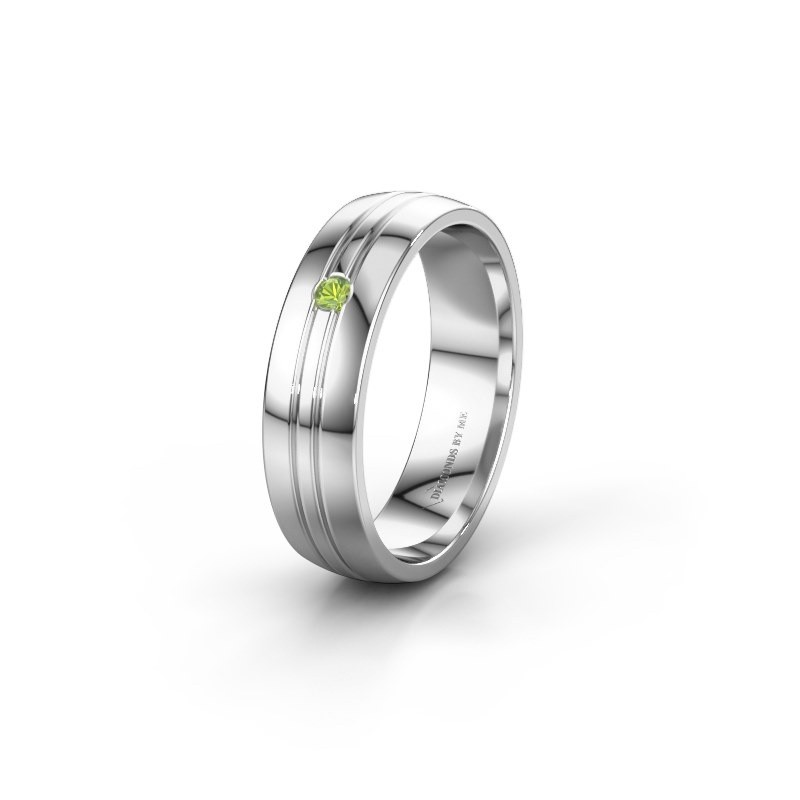 Wedding ring WH0420L25X 585 white gold peridot ±0.20x0.06 in
