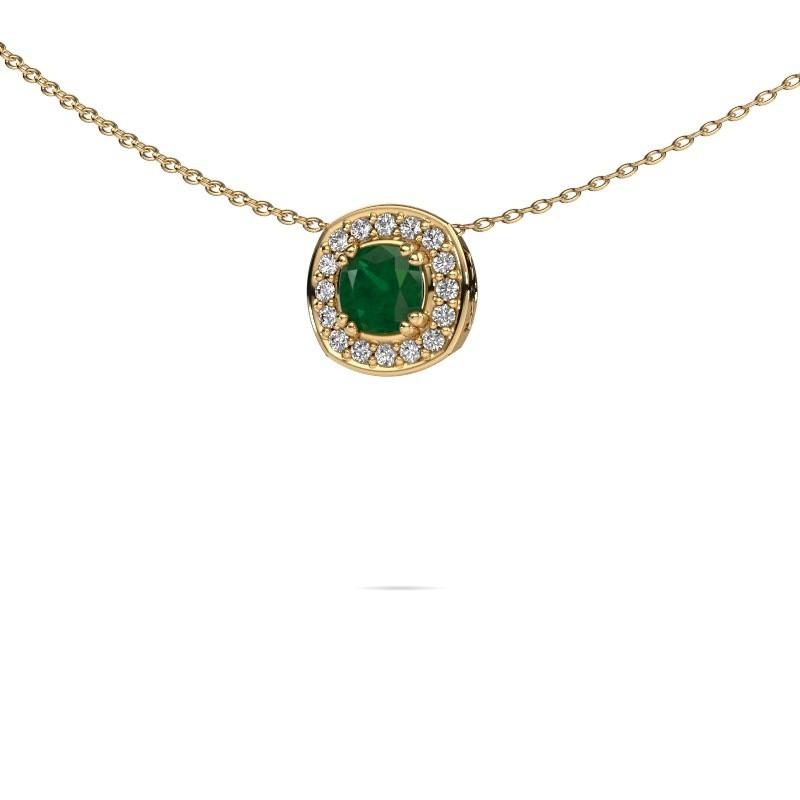 Ketting Carolina 585 goud smaragd 5 mm