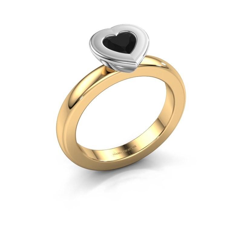 Stapelring Eloise Heart 585 goud zwarte diamant 0.60 crt