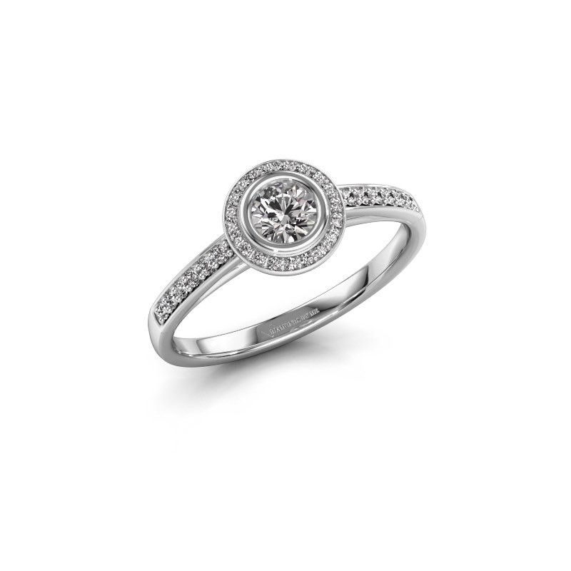 Verlovingsring Noud 2 RND 585 witgoud diamant 0.440 crt