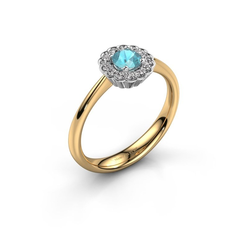 Verlovingsring Debi 585 goud blauw topaas 4.2 mm