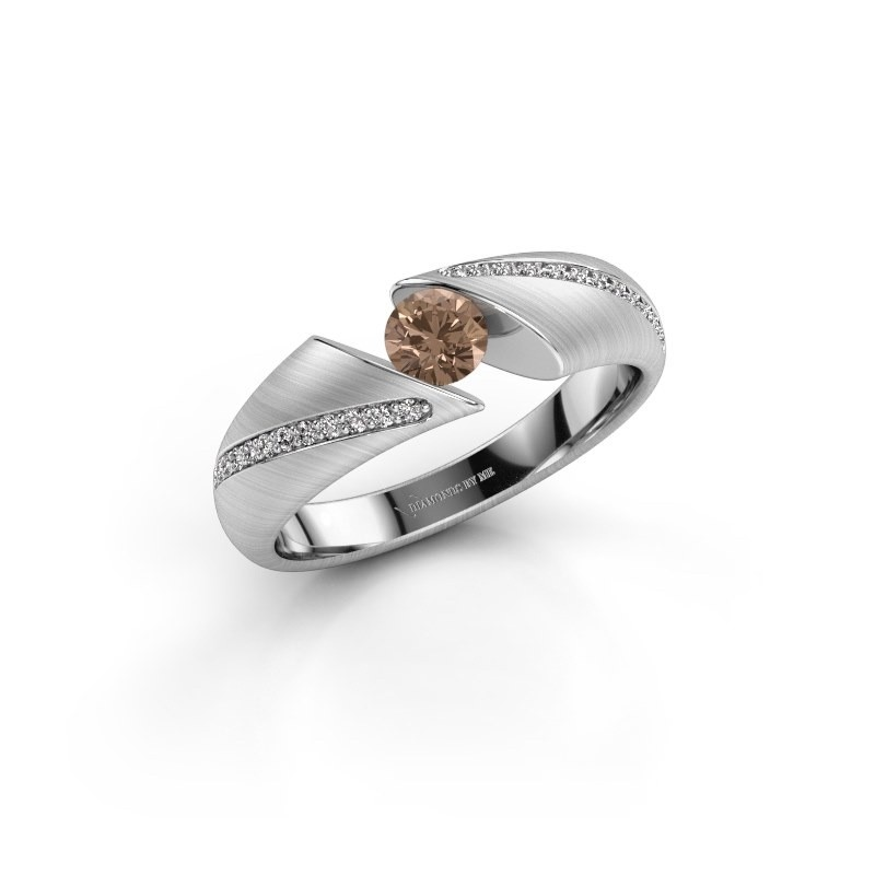 Engagement ring Hojalien 2 950 platinum brown diamond 0.42 crt