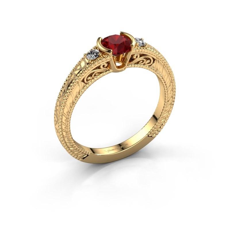 Verlovingsring Anamaria 375 goud robijn 5 mm