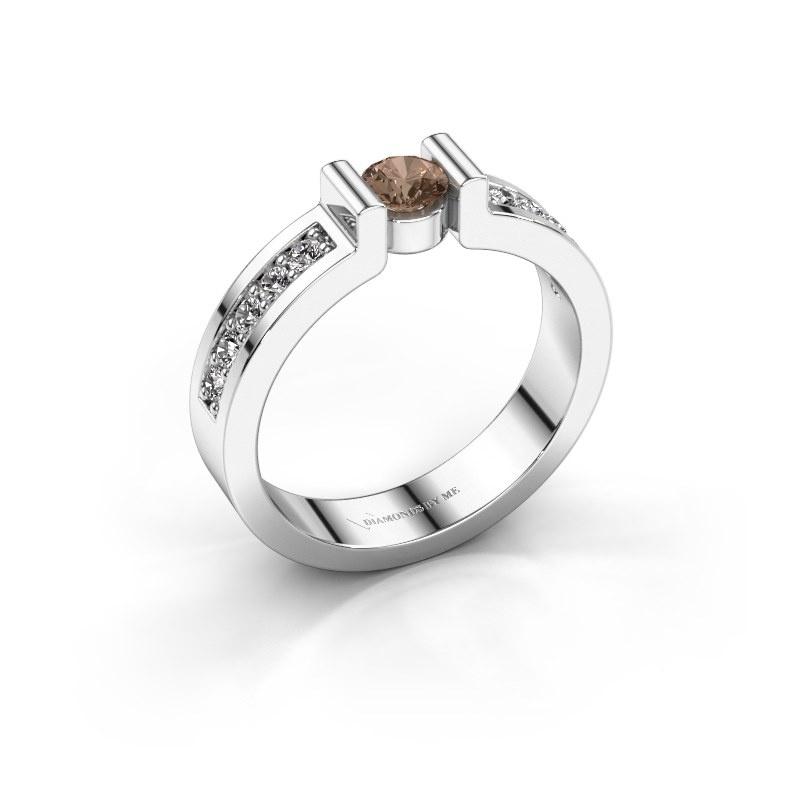 Engagement ring Isabel 2 585 white gold brown diamond 0.25 crt