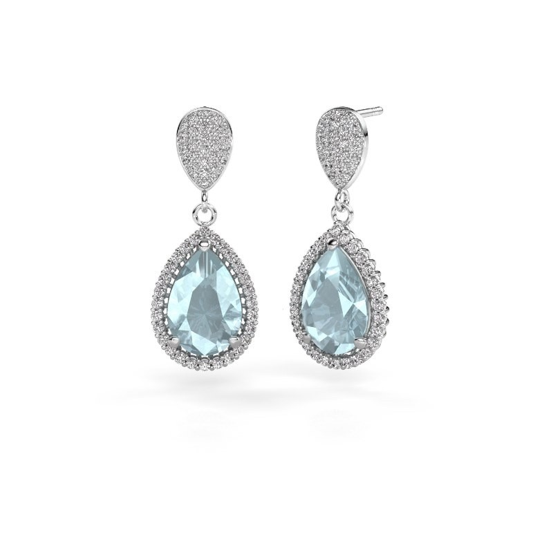 Drop earrings Cheree 2 950 platinum aquamarine 12x8 mm