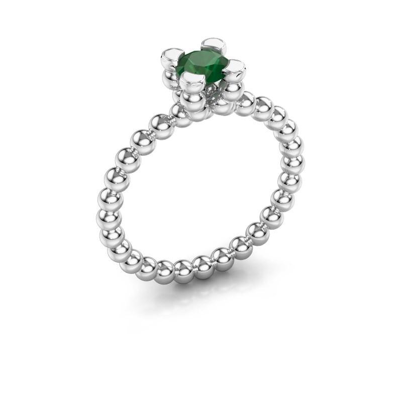 Ring Aurore 585 witgoud smaragd 5 mm