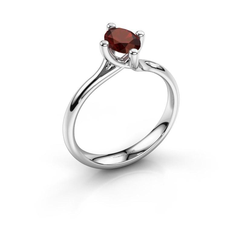 Engagement ring Dewi Oval 950 platinum garnet 7x5 mm