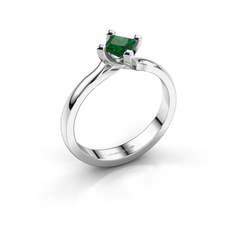 Engagement ring Dewi Square 925 silver emerald 4 mm