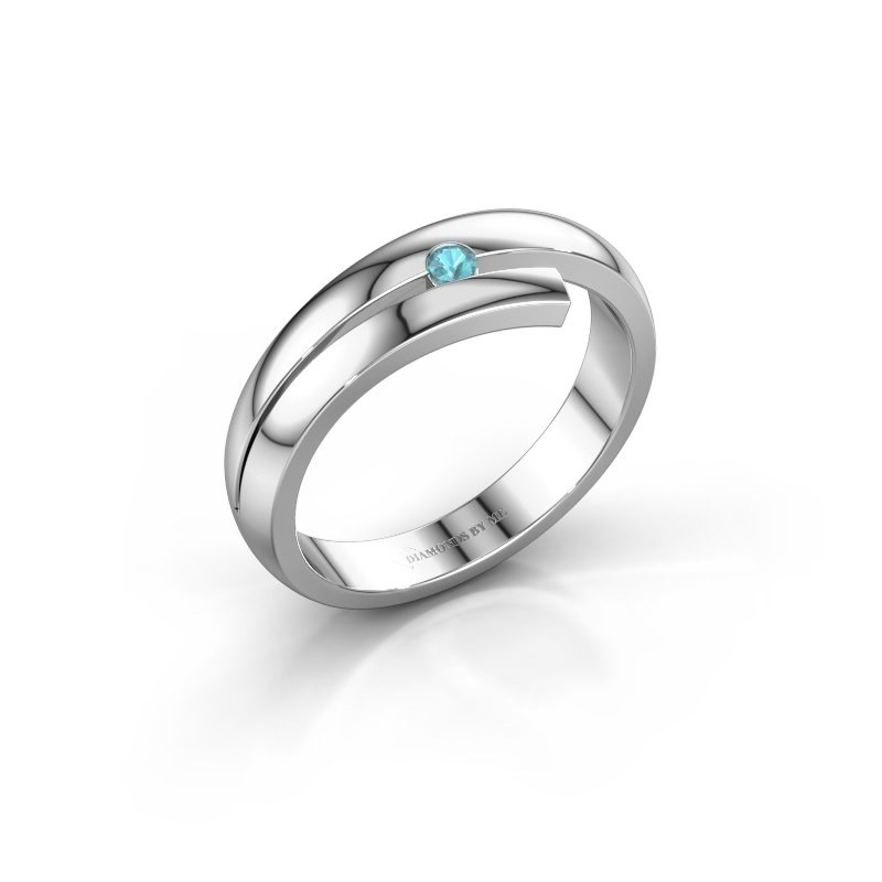 Ring Shela 585 witgoud blauw topaas 2.2 mm