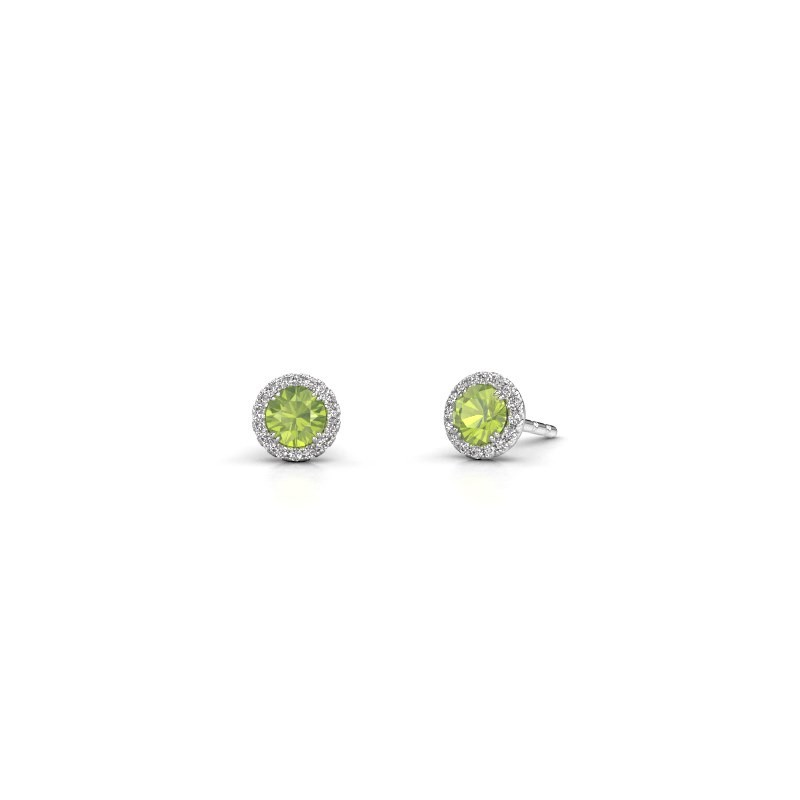 Earrings Seline rnd 950 platinum peridot 4 mm