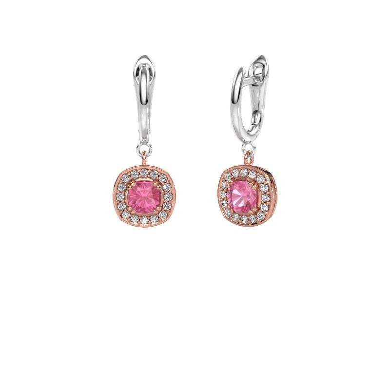 Oorhangers Marlotte 1 585 rosé goud roze saffier 5 mm