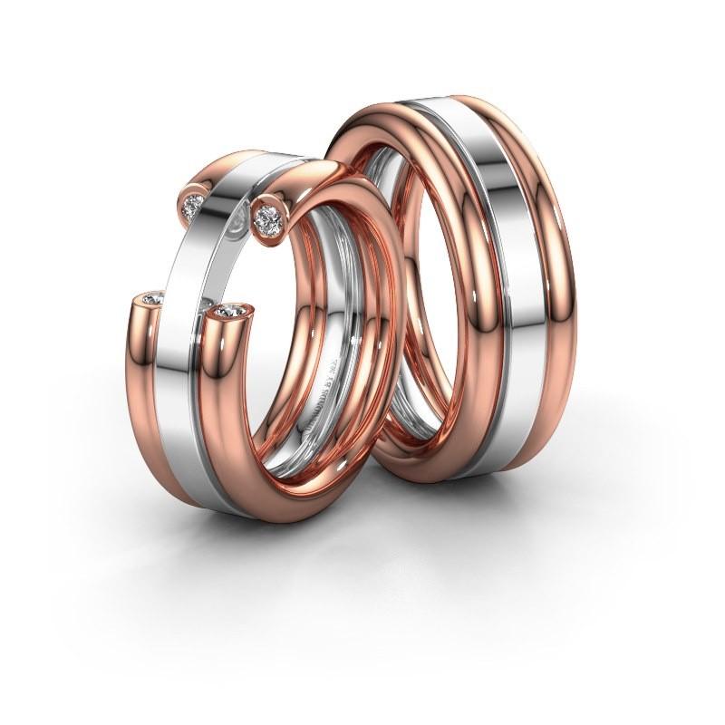 Trouwringen set WH6018LM ±8x2.8 mm 14 karaat rosé goud diamant 0.03 crt