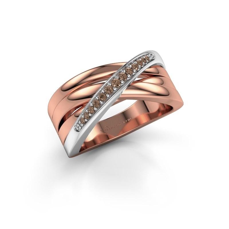 Ring Renna 2 585 rosé goud bruine diamant 0.122 crt