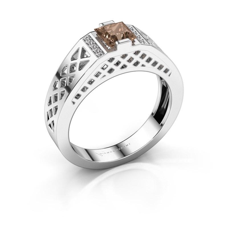 Herrenring Jonathan 585 Weißgold Braun Diamant 0.834 crt