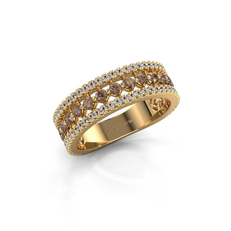 Engagement ring Elizbeth 1 375 gold brown diamond 0.84 crt