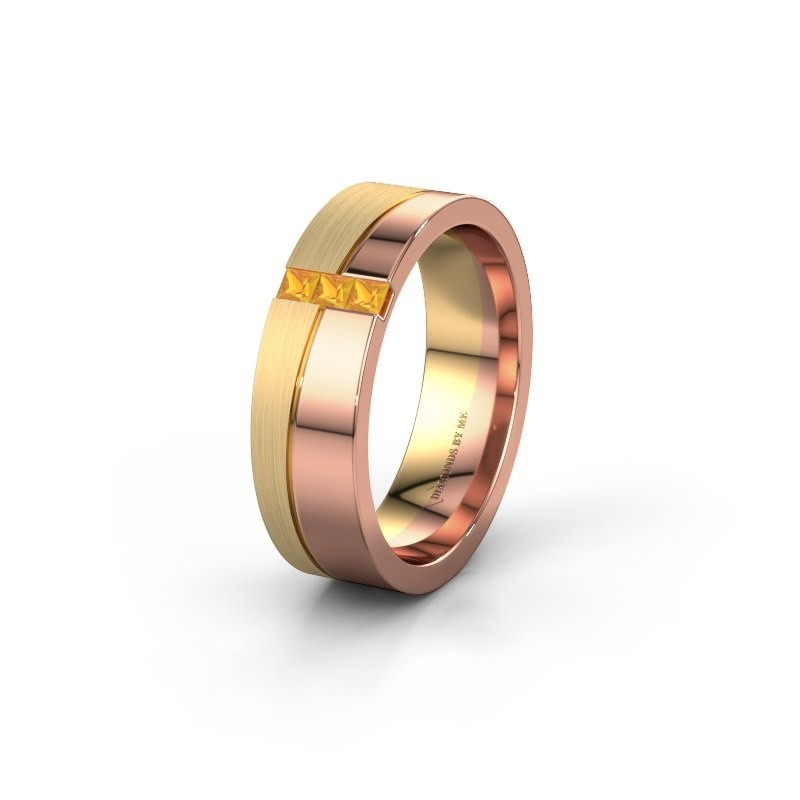 Wedding ring WH0906L16A 585 rose gold citrin ±0.24x0.07 in