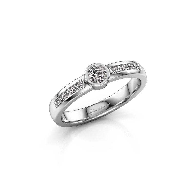 Engagement ring Ise 2 950 platinum zirconia 3.7 mm