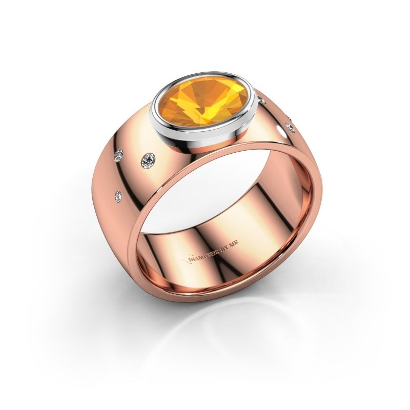 Ring Wilma 2 585 rosé goud citrien 8x6 mm