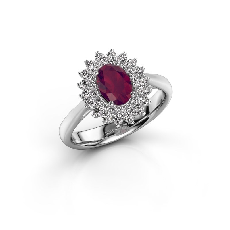 Engagement ring Alina 1 925 silver rhodolite 7x5 mm