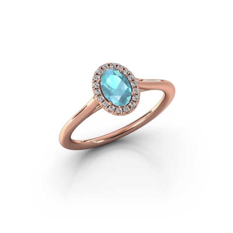 Engagement ring Seline 1 585 rose gold blue topaz 6x4 mm