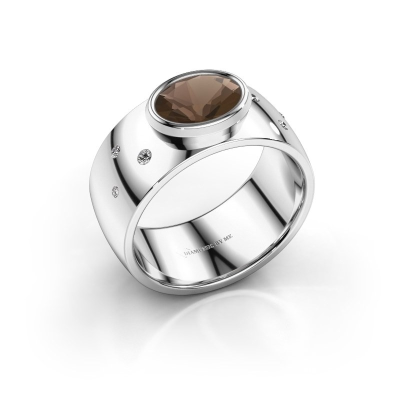 Ring Wilma 2 950 platina rookkwarts 8x6 mm