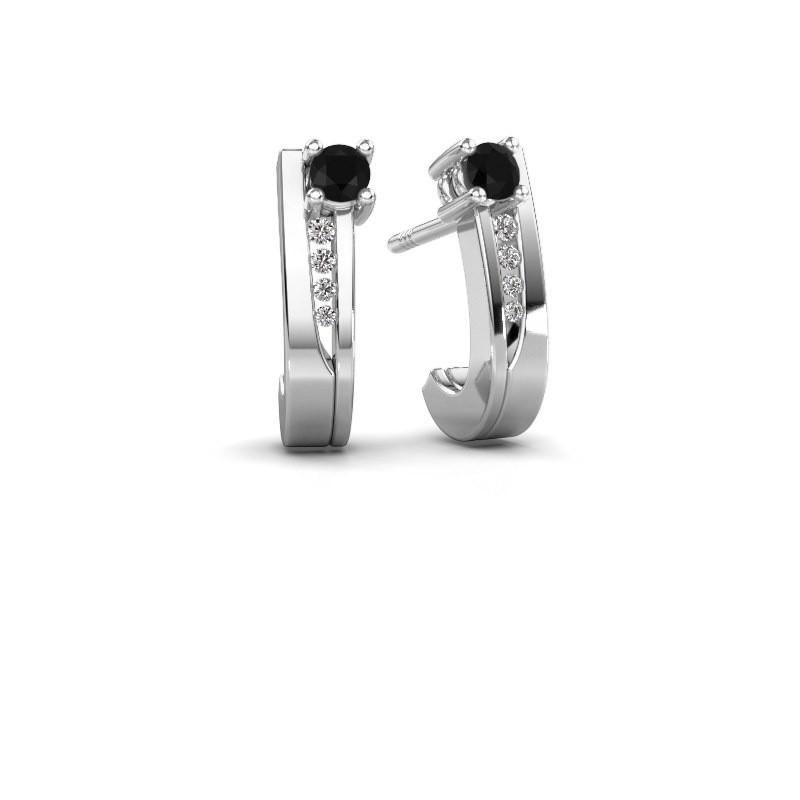 Oorbellen Jewell 585 witgoud zwarte diamant 0.25 crt