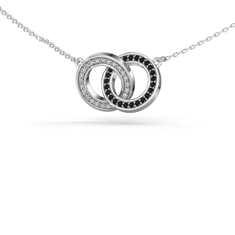 Halskette Circles 2 585 Weißgold Schwarz Diamant 0.275 crt