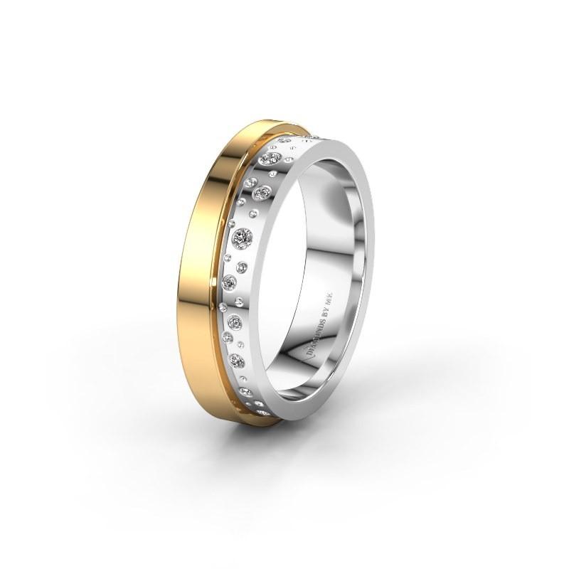 Trouwring WH6016L15E 585 witgoud diamant ±5x2.6 mm