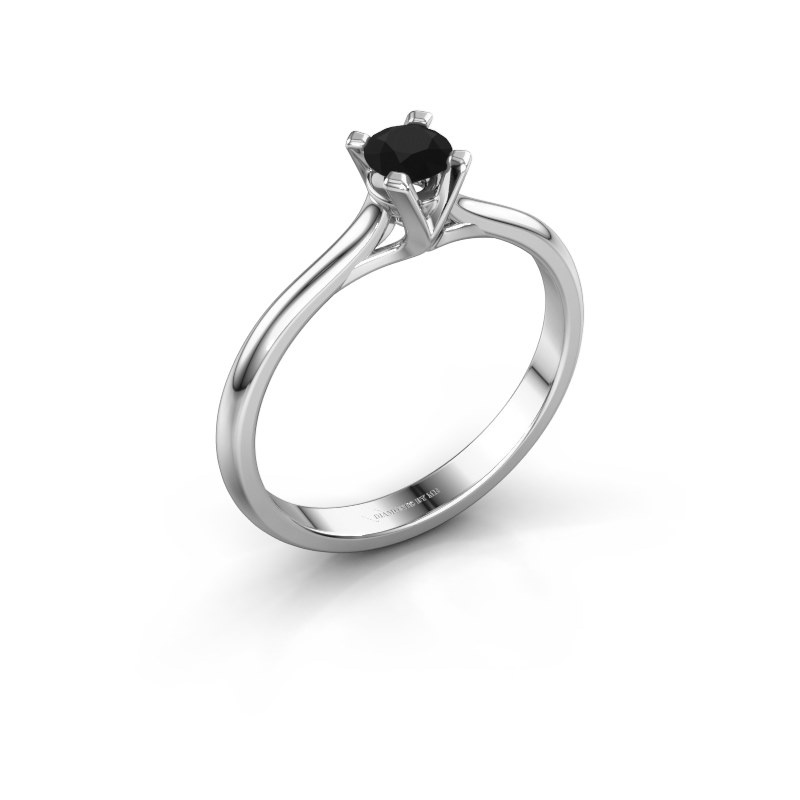 Verlovingsring Isa 1 585 witgoud zwarte diamant 0.30 crt