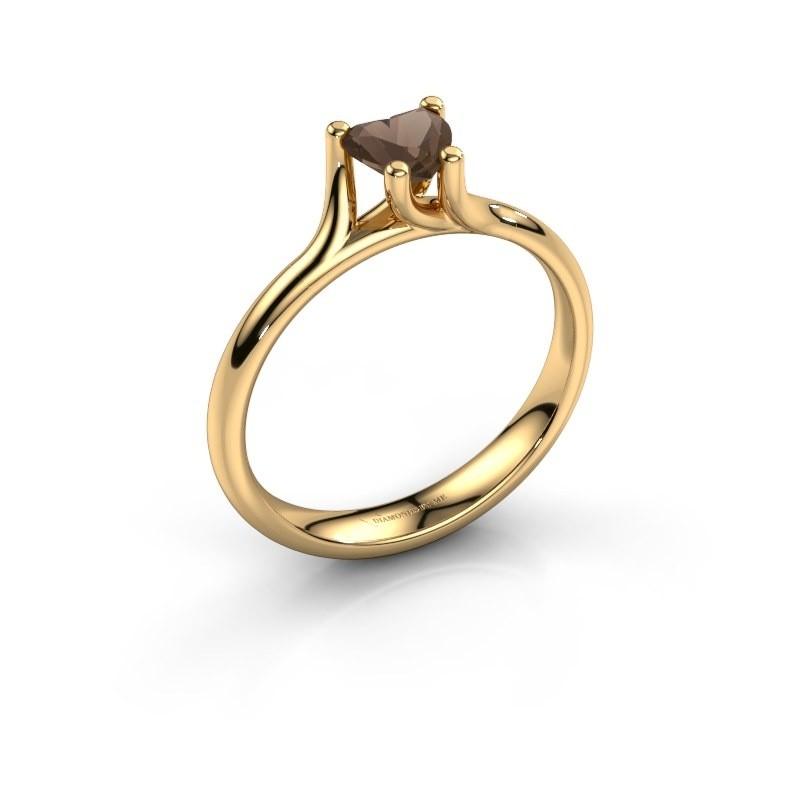Verlobungsring Dewi Heart 375 Gold Rauchquarz 5 mm
