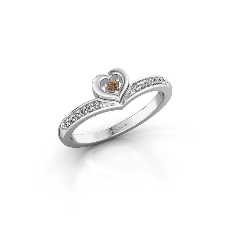 Ring Mimi 950 platina bruine diamant 0.118 crt