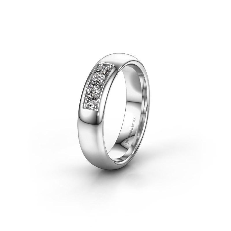 Trouwring WH0110L35BP 585 witgoud diamant ±5x2 mm
