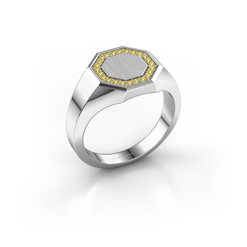 Men's ring Floris Octa 2 950 platinum yellow sapphire 1.2 mm