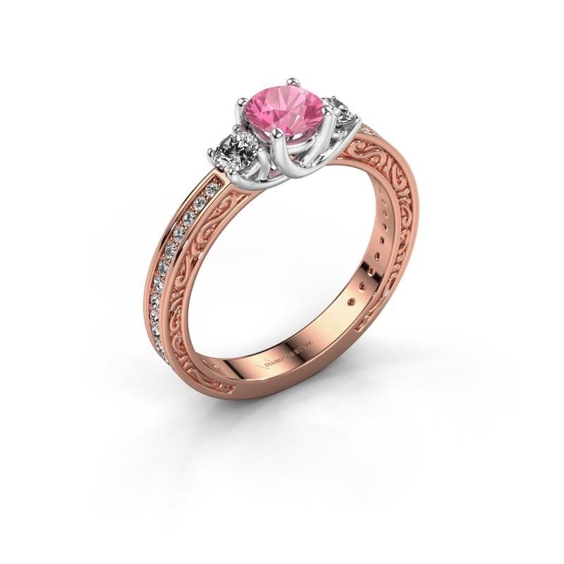 Verlovingsring Betty 2 585 rosé goud roze saffier 5 mm