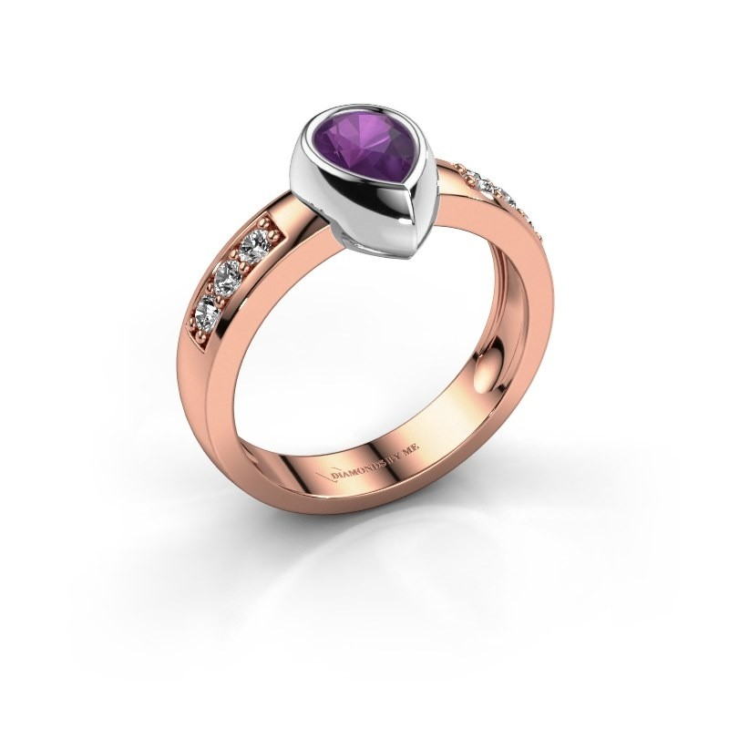 Ring Charlotte Pear 585 Roségold Amethyst 8x5 mm