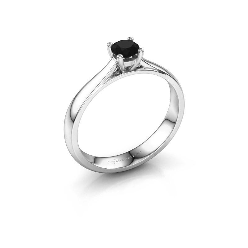 Engagement ring Sam 585 white gold black diamond 0.36 crt
