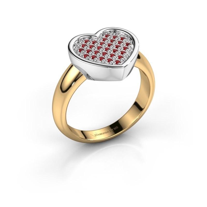 Ring Veerle 585 goud robijn 1 mm