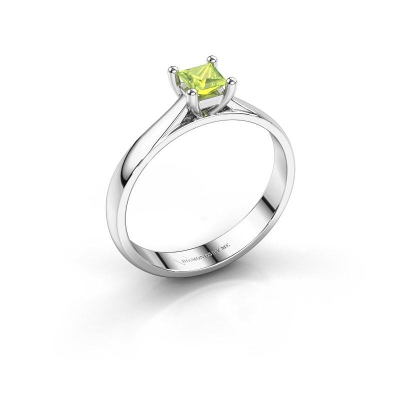 Engagement ring Sam Square 950 platinum peridot 4 mm