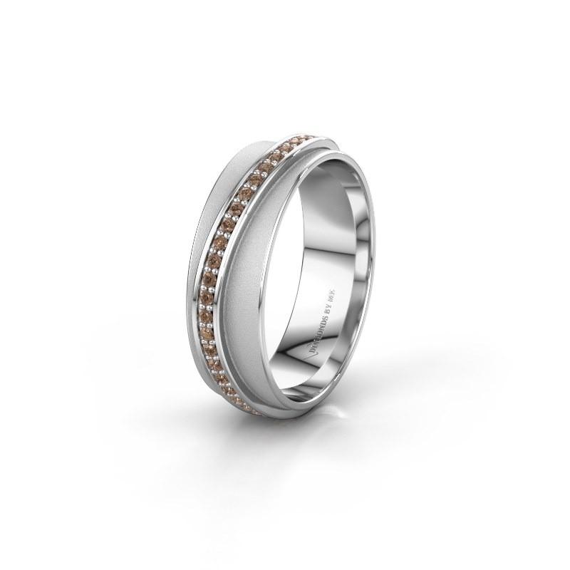 Huwelijksring WH2126L 585 witgoud bruine diamant ±6x1.7 mm