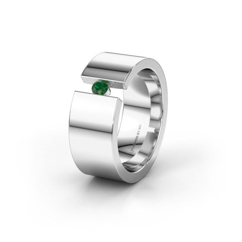 Trouwring WH0146L18BP 950 platina smaragd ±8x2 mm