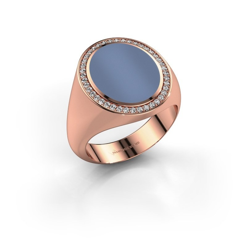 Zegelring Adam 4 375 rosé goud licht blauwe lagensteen 15x12 mm