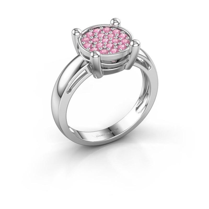 Ring Dina 585 witgoud roze saffier 1.6 mm