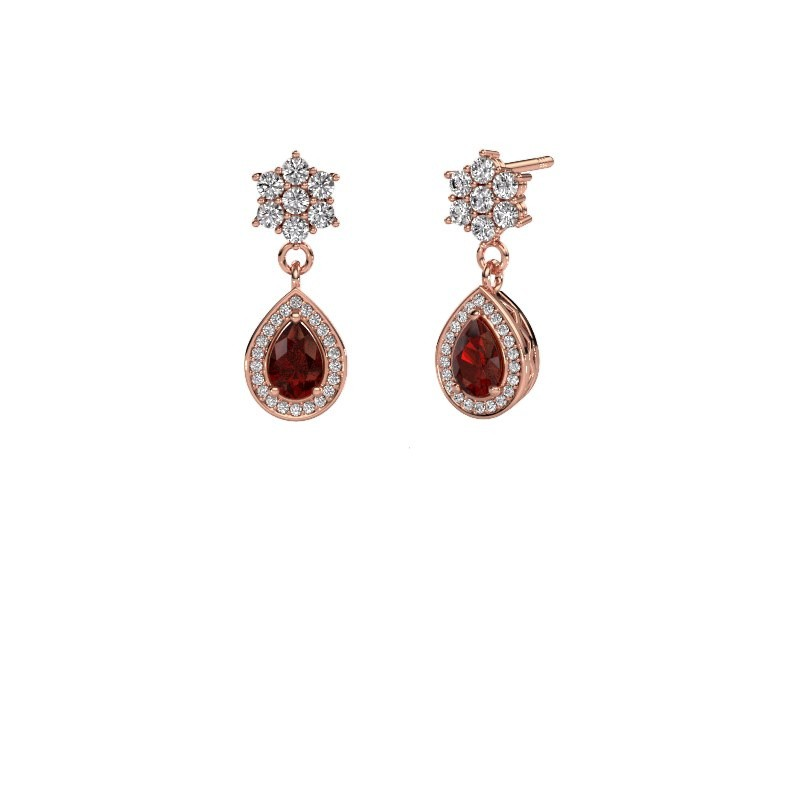 Drop earrings Era 585 rose gold garnet 6x4 mm